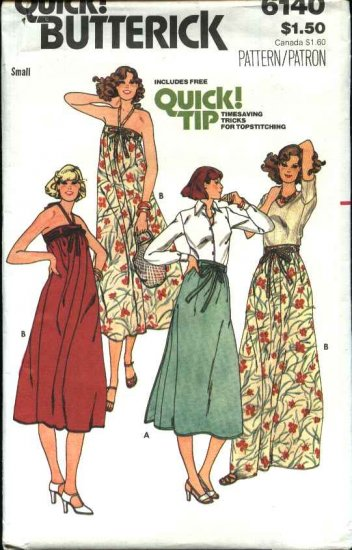 Retro Butterick Sewing Pattern 6140 Misses Size 8-10 Back Wrap Skirt Sundress Halter Dress