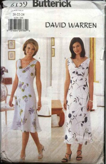 Butterick Sewing Pattern 6159 Misses Size 14-16-18 Easy Sleeveless Cowl Neck A-Line Dresses