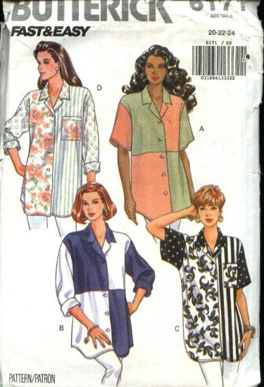 Butterick Sewing Pattern 6171 Misses Size 20-22-24 Easy Button Front Color Blocked Big Shirt Blouse