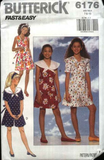 Butterick Sewing Pattern 6176 Girls Size 7-8-10 Easy Button Front Jumpsuit Romper Culotte Dress