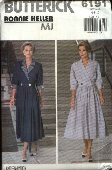 Butterick Sewing Pattern 6191 Misses Size 6-8-10 Mock Front Wrap Pleated Skirt Dress