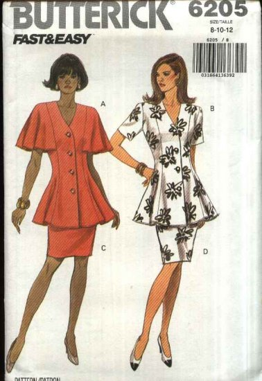 Butterick Sewing Pattern 6205 Misses Size 8-12 Easy Two-Piece Dress Button Front Top Straight Skirt