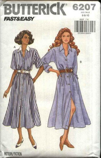 Butterick Sewing Pattern 6207 Misses Size 6-8-10 Easy Classic Button Front Shirtwaist Dress