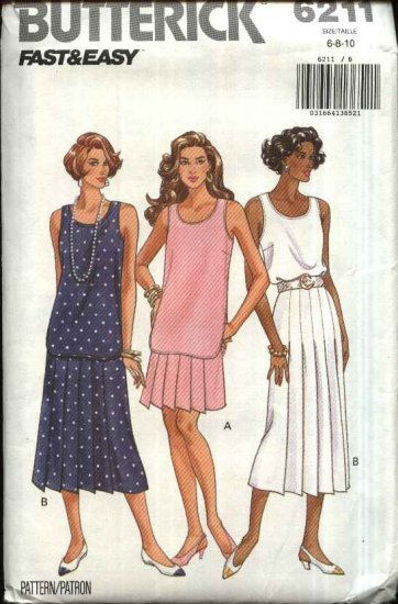 Butterick Sewing Pattern 6211 Misses Size 12-14-16 Easy Two Piece Dress Sleeveless Top Pleated Skirt