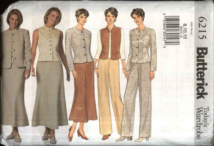 Butterick Sewing Pattern 6215 Misses Size 8-10-12 Easy Wardrobe Jacket Vest Skirt Pants
