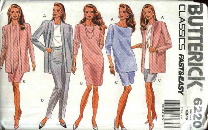 Butterick Sewing Pattern 6220 Misses Size 6-10 Easy Classic Wardrobe Dress Skirt Top Jacket Pants