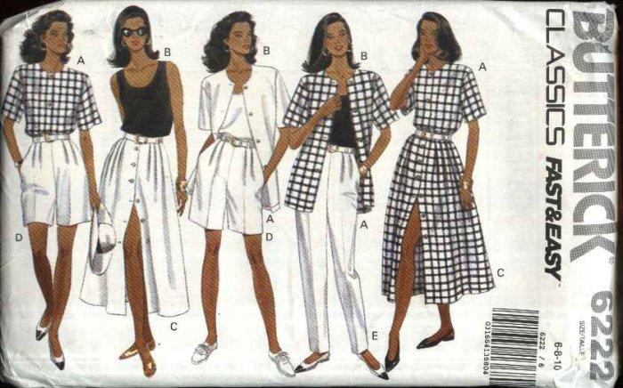 Butterick Sewing Pattern 6222 Misses Size 6-10 Easy Classic Summer Wardrobe Top Skirt Shorts Pants