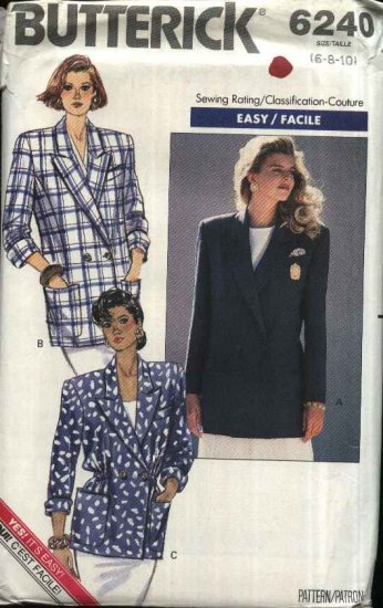 Butterick Sewing Pattern 6240 B6240 Misses Size 6-10 Easy Double Breasted Unlined Jacket Blazer