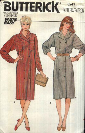 Butterick Sewing Pattern 6241 Misses Size 14-18 Easy Double Breasted Button Front Shirtwaist Dress