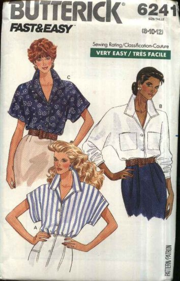 Butterick Sewing Pattern 6241 Misses Size 14-16-18 Easy Button Front Long Short Sleeves Blouse Top