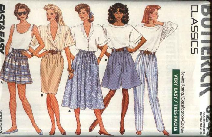 Butterick Sewing Pattern 6249 Misses Size 6-22 Easy Classic Straight Flared Skirts Shorts Pants