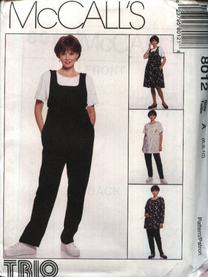 McCall�s Sewing Pattern 8012 Misses Size 12-14-16 Maternity Wardrobe Jumper Jumpsuit Top Pants