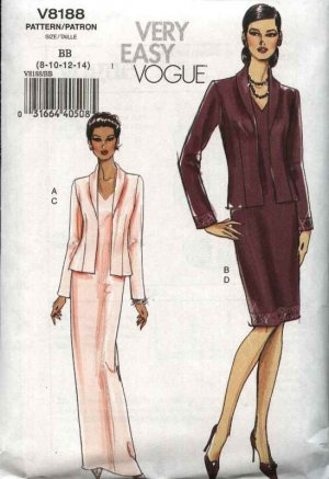 Vogue Sewing Pattern 8188 Misses Sizes 16-18-20-22 Easy  Formal Evening Long Short Dress Jacket
