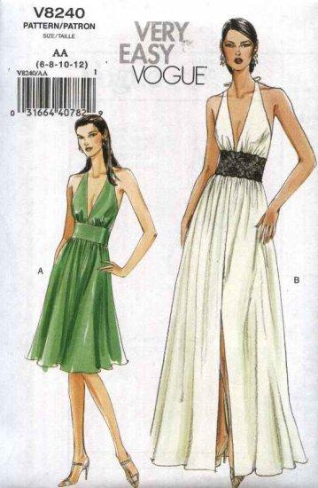 Vogue Sewing Pattern 8240 Misses Sizes 14-16-18-20 Easy Halter Neck Long Short Gathered Skirt  Dress