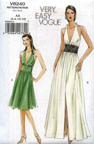 Vogue Sewing Pattern 8240 Misses Sizes 14-16-18-20 Easy Halter Neck ...
