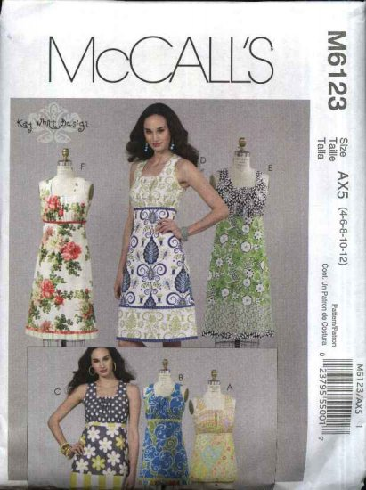 McCall�s Sewing Pattern 6123 Misses Size 12-18 Sleeveless Summer Color Blocked Dress Top Tunic