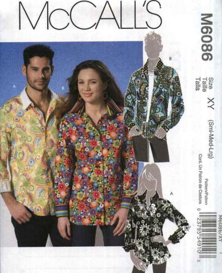 """McCall�s Sewing Pattern 6086 Mens Misses chest Size 31 1/2 - 40"""" Long Sleeve Button Front Shirt"""