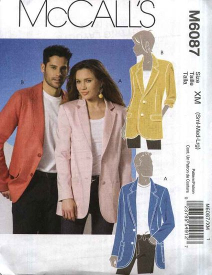 """McCall�s Sewing Pattern 6087 Misses Mens Unisex Chest Size 34""""- 44"""" Lined Long Sleeve Jacket"""