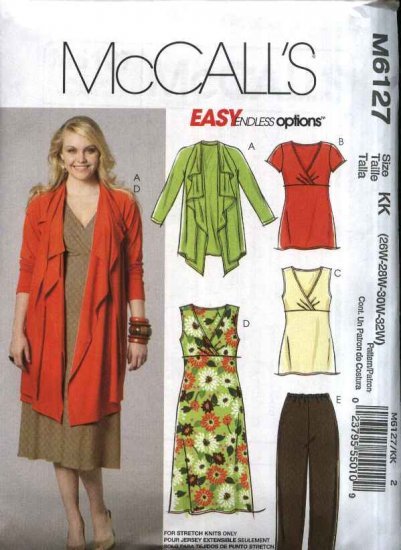 McCall�s Sewing Pattern 6127 M6127 Womans Plus Size 18W-24W Easy Knit Dress Top Jacket Pants