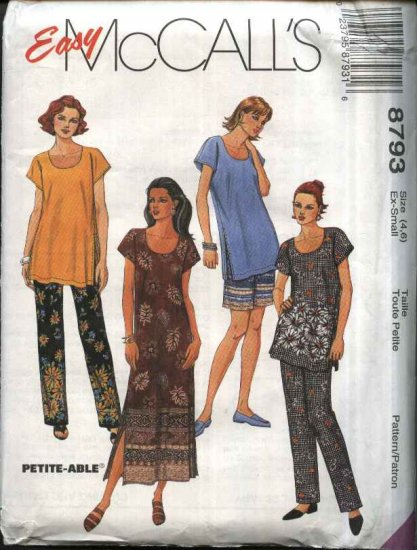 McCall�s Sewing Pattern 8793 Misses Size 4-6 Easy Summer Wardrobe Dress Tunic Top Pants Shorts