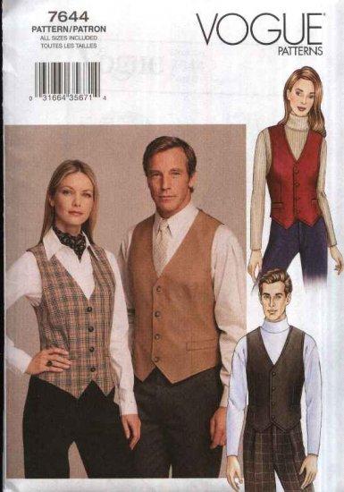 """Vogue Sewing Pattern 7644 Misses Mens Chest Size 30 - 48"""" Unisex Button Front Vests Necktie Ascot"""