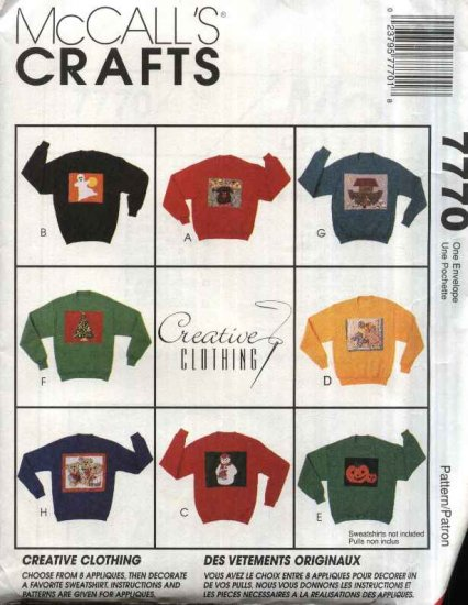 McCall�s Sewing Pattern 7770 M7770 Creative Clothing Appliques Christmas Halloween Noah's Ark