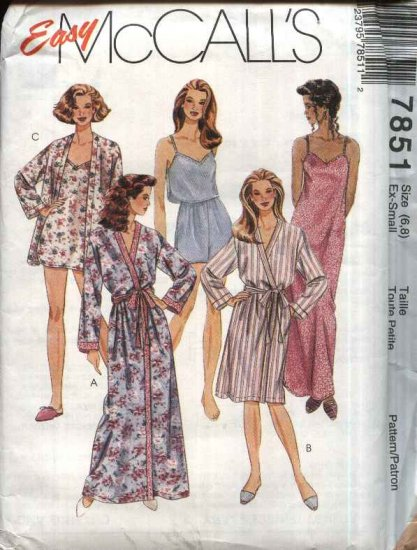 McCall�s Sewing Pattern 7851 Misses Size 6-8 Easy Camisole Nightgown Front Wrap Robe Shorts