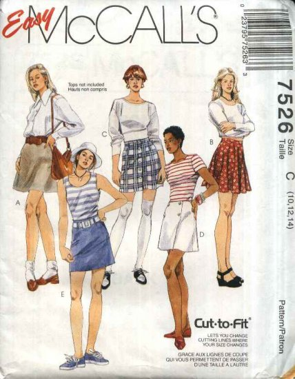 McCall�s Sewing Pattern 7526 Misses Size 10-12-14 Easy A-Line Flared Wrap Button Front Mini Skirts