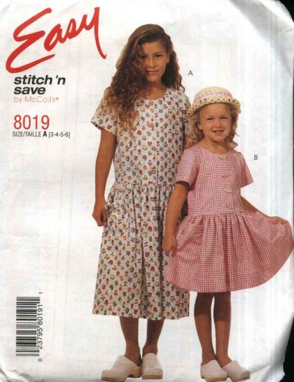 McCall�s Sewing Pattern 8019 girls Size 3-4-5-6 Easy Short Sleeve Dropped Waist Dress