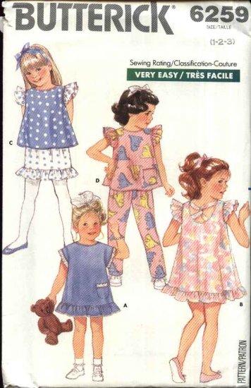Butterick Sewing Pattern 6259 Toddler Girls Size 1-2-3 Easy Summer Wardrobe Dress Top Pants Skirt