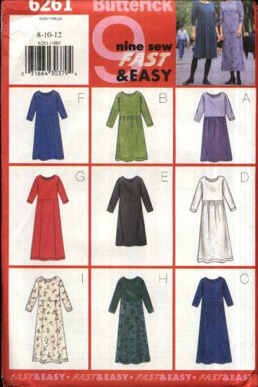 Butterick Sewing Pattern B6261 6261 Misses Size 20-24 Easy Pullover A-line Gathered Skirt Dress