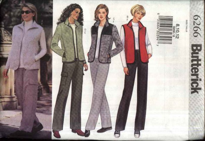 Butterick Sewing Pattern 6266 Misses Size 14-16-18 Easy Zipper Front Jacket Vest Pants