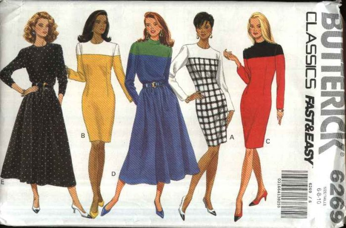 Butterick Sewing Pattern 6269 Misses Size 6-8-10 Easy Classic Straight Full Skirted Dress