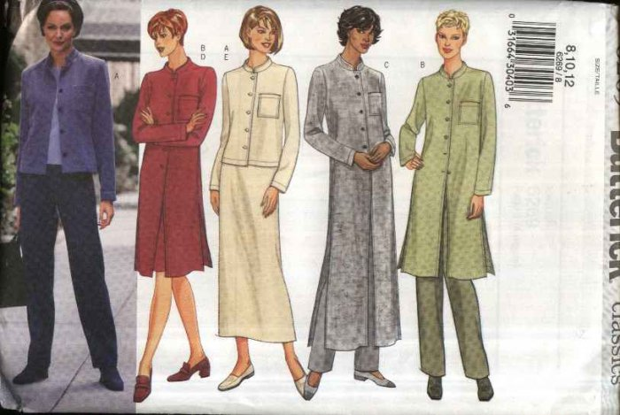 Butterick Sewing Pattern 6269 B6269 Misses Size 8-12 Easy Wardrobe Jacket Duster Skirt Pants