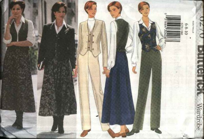Butterick Sewing Pattern 6270 Misses Sizes 6-8-10 Easy Wardrobe Jacket Vest Skirt Pants