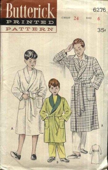 "Vintage 1952 Butterick Sewing Pattern 6276 Boys Size 6 Chest 24"" Front Wrap Bath Robe Belt"
