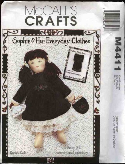 McCall's Sewing Pattern 4411 Sophie Doll Clothes Fancy Embroidered Beaded Dress Handbag Petticoat