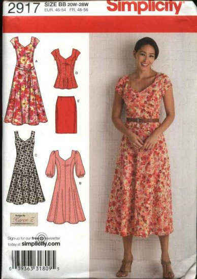 Simplicity Sewing Pattern 2917 Womens Plus Size 20W-28W Dress Straight Skirt Tunic Top Belt