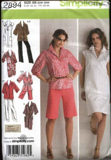 Simplicity Sewing Pattern 2894 Misses Size 10-18 Summer Wardrobe Dress Shorts Pants Tunic Top