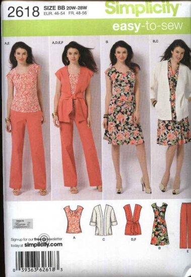 Simplicity Sewing Pattern 2618 Misses Size 10-18 Easy Wardrobe Dress Pants Top Jacket Vest