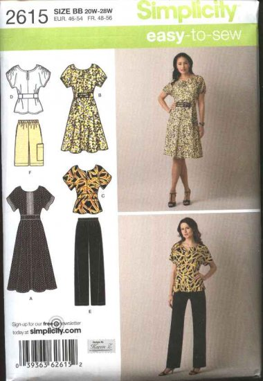 Simplicity Sewing Pattern 2615 Misses Size 10-18 Easy Wardrobe Pullover Dress Top Shorts Pants