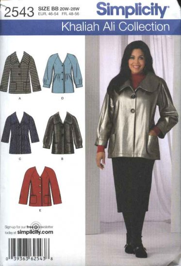 Simplicity Sewing Pattern 2543 Misses Size 10-18 Button Front Raglan Sleeve Jacket Khaliah Ali