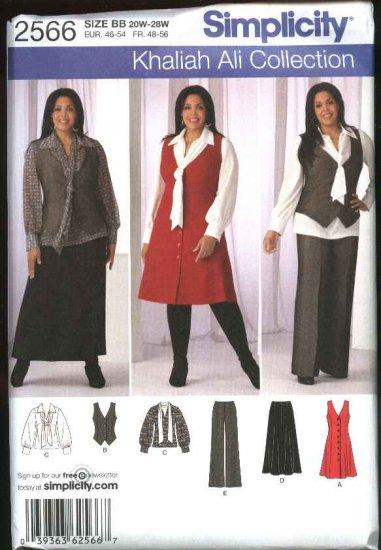 Simplicity Sewing Pattern 2566 Womans Plus Size 20W-28W Wardrobe Blouse Vest Pants Skirt Jumper