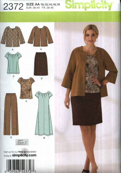 Simplicity Sewing Pattern 2372 Womans Plus Size 20W-28W Wardrobe Jacket Top Dress Skirt Pants