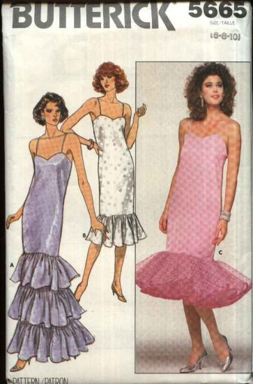 Retro Butterick Sewing Pattern 5665 B5665 Misses Size 12-14-16 Straight Long Short Formal Prom Dress