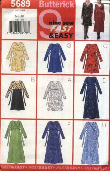 Butterick Sewing Pattern 5689 B5689 Misses Size 12-16 Easy Pullover Long Sleeve Raised Waist Dress