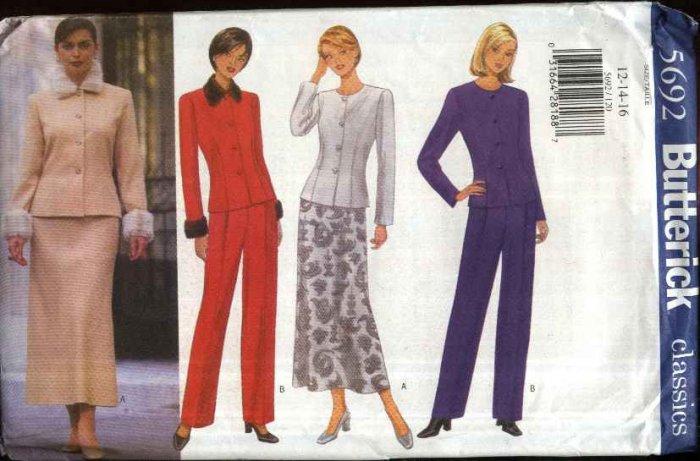 Butterick Sewing Pattern 5692 Misses Size 18-20-22 Easy Classic Suit Jacket Skirt Pants Pantsuit