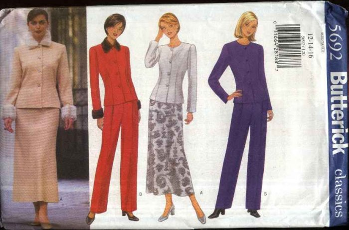 Butterick Sewing Pattern 5694 Misses Size 6-8-10 Classic Suit Double Breasted Jacket Skirt Pants