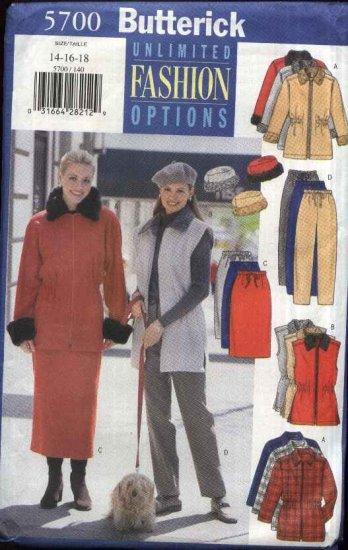 Butterick Sewing Pattern 5700 Misses Size 14-16-18 Easy Wardrobe Jacket Vest Skirt Pants Hat