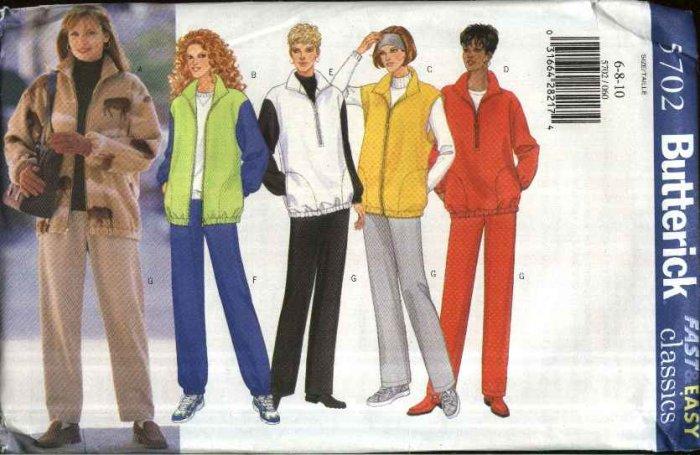 Butterick Sewing Pattern 5702 Misses Size 6-8-10 Easy Classic Zipper Front Jacket Vest Pants